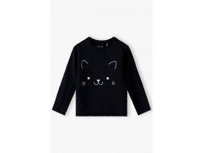 Dívčí černé tričko dlouhý rukáv Kočička