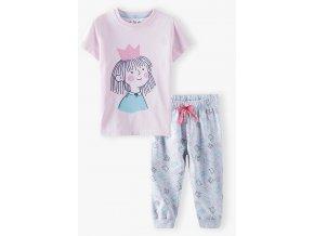 Dívčí pyžamo krátký rukáv a dlouhé nohavice Princezna