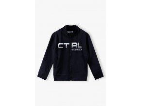 Chlapecká černá mikina CTRL na zip bez kapuce