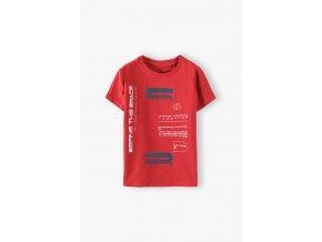 Červené chlapecké tričko krátký rukáv s potiskem