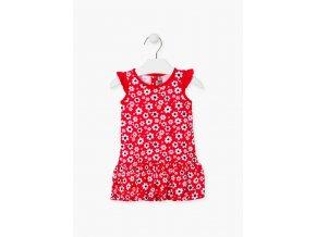 Šaty s kytičkovým potiskem (Barva Červená, Velikost 86)