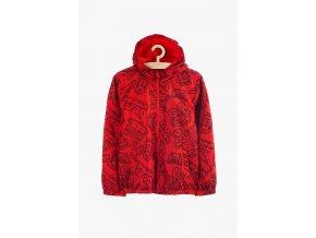 Přechodová bunda s kapucí (větrovka s fleecovou podšívkou) (Barva Červená, Velikost 104)