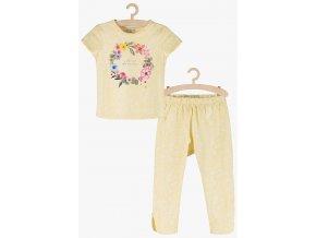 Dívčí pyžamo krátký rukáv a dlouhé nohavice (Barva Žlutá, Velikost 110/116)