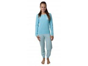 Dívčí pyžamo dlouhý rukáv (Barva Modrá, Velikost 140)