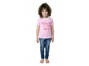 Dívčí tričko krátký rukáv s potiskem (Barva Růžová, Velikost 110)