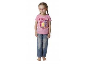 Dívčí tričko krátký rukáv s potiskem (Barva Růžová, Velikost 98/104)