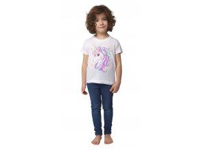 Dívčí tričko krátký rukáv s jednorožcem (Barva Bílá, Velikost 110)