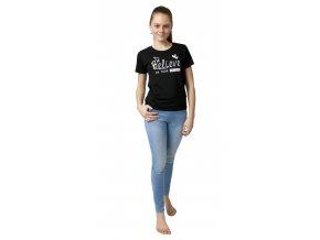 Dívčí tričko krátký rukáv s potiskem (Barva Černá, Velikost 140)
