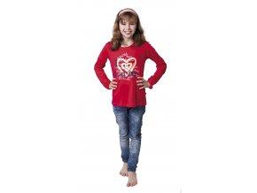 Dívčí tričko dlouhý rukáv s potiskem (Barva Modrá tmavá, Velikost 140)