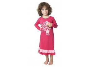 Noční košile dlouhý rukáv s kanýrky (Barva Růžová, Velikost 110)