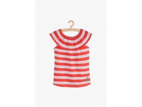 Tričko bez rukávů proužkované (Barva Červená, Velikost 104)