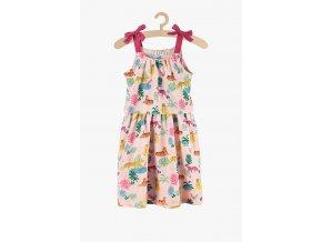 Letní šaty na ramínka s pestrým potiskem (Barva Růžová, Velikost 104)