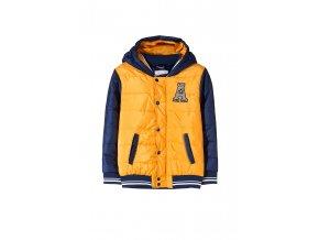 Chlapecká žluto-modrá přechodová bunda s kapucí
