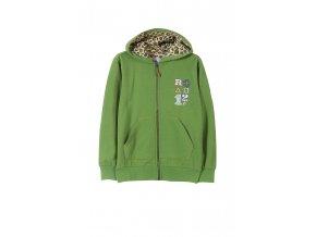 Chlapecká zelená mikina na zip s kapucí