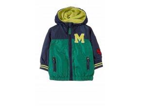 Kojenecká zeleno-modrá přechodová bunda s kapucí