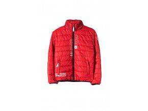Chlapecká červená prošívaná bunda s tenkou kapucí