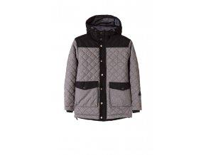 Chlapecká šedá zimní bunda s kapucí