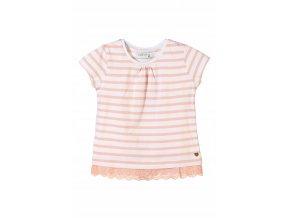 Dívčí proužkované tričko krátký rukáv s krajkou