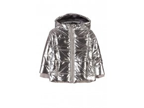 Stříbrná dívčí bunda s kapucí - zimní