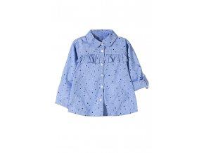 Dívčí modrá košilová halenka s potiskem