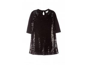 Dívčí černé společenské šaty s flitry