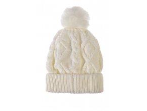 Dívčí pletená čepice bílá