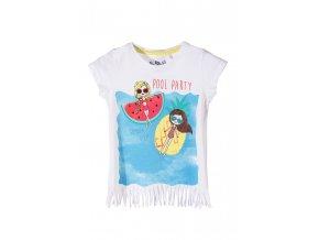 Dívčí tričko krátký rukáv s potiskem a třásněmi