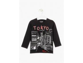 Chlapecké černé tričko dlouhý rukáv Tokyo