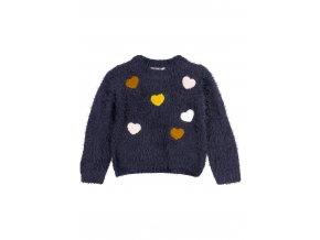 Dívčí pletený svetr (tmavě růžová barva)