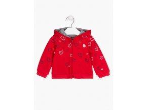 Kojenecká mikina na zip s kapucí (červená a růžová varianta)