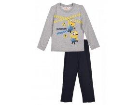 Chlapecké šedé pyžamo dlouhý rukáv Mimoni