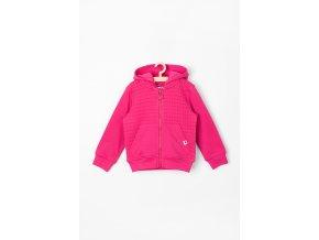 Růžová kojenecká mikina na zip s kapucí