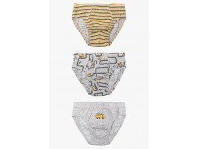 Chlapecké žluto-šedé slipy - 3 kusy v balení