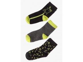 Chlapecké ponožky šedo-limetková kombinace - 3 páry