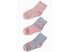 Dívčí růžovo-šedé ponožky - 3 páry v balení