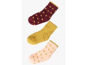 Dívčí ponožky se srdíčky - 3 páry v balení