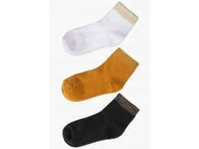 Mix jednobarevných ponožek s ozdobným lemem - 3 páry
