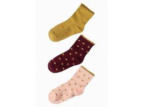 Dívčí ponožky se srdíčky a ozdobným lemem - 3 páry