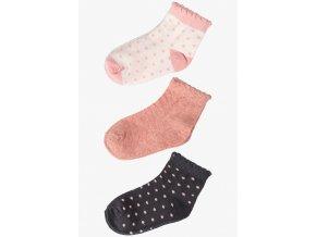 Dívčí ponožky s ozdobným lemem - 3 páry v balení