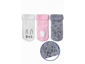 Kojenecké protiskluzové ponožky se zajíčky - 3 páry