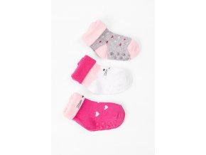 Kojenecké protiskluzové ponožky se srdíčky - 3 páry