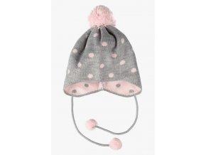 Kojenecká zimní čepice s puntíky