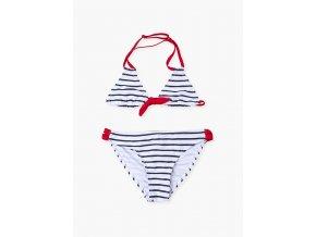 Dívčí dvoudílné plavky (červeno-bílý proužek)