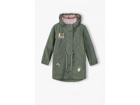 Dívčí přechodová bunda (parka) s fleecovou podšívkou a kapucí