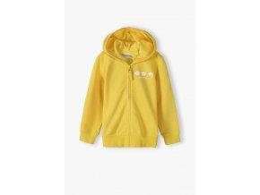 Dívčí žlutá mikina na zip s kapucí