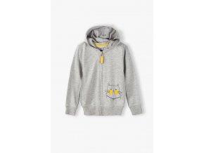 Dívčí šedá mikina na zip s kapucí
