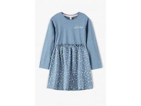 Dívčí šaty dlouhý rukáv s kytičkovou sukénkou
