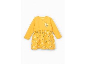 Kojenecké žluté šaty dlouhý rukáv s potiskem