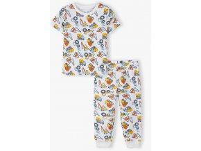 Chlapecké pyžamo krátký rukáv a dlouhé nohavice Stroje