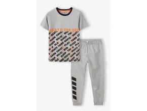 Chlapecké šedé pyžamo krátký rukáv a dlouhé nohavice